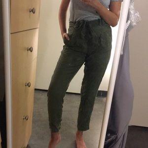 f21 khaki green paper bag trousers